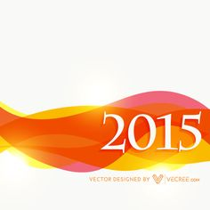 Year 2015 Colorful Wave Background Vector