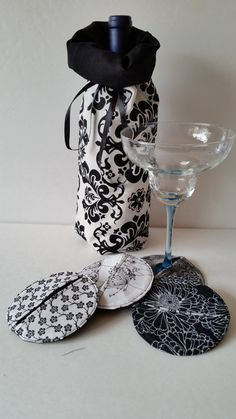 set of 4 black and white coasters with matching bottle gift bag, coasters, wine gift bag, hostess gift, bride and groom, housewarming gift,