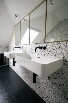 Terrazo Wall Bathroom Ideas - Home of Pondo - Home Design Bathroom Trends, Bathroom Renovations, Bathroom Ideas, Bathroom Designs, Remodel Bathroom, Bathroom Inspo, Bathroom Colors, Bath Ideas, Bad Inspiration