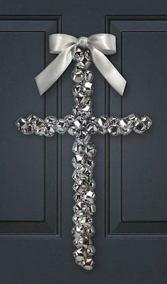 Decorative Silver Jingle Bell Cross