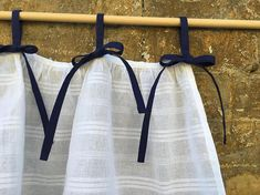Navy Blue White Cotton Curtains Cottage Kitchen Ruffle Coastal