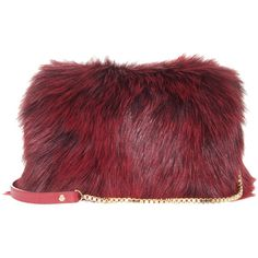 ELIE SAAB Fox Fur Clutch (25 120 UAH) ❤ liked on Polyvore featuring bags, handbags, clutches, purses, elie saab, bolsas, red studded purse, clasp purse, handbags purses and studded purse