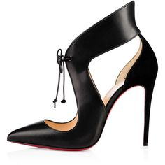 Ferme Rouge 100 Black Leather - Women Shoes - Christian Louboutin ($995) ❤ liked on Polyvore featuring shoes, real leather shoes, leather shoes, kohl shoes, leather footwear and genuine leather shoes
