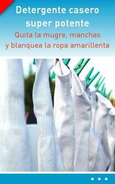 Detergente casero super potente. Quita la mugre, manchas y blanquea la ropa amarillenta Housekeeping, Clean House, Ideas Para, Good To Know, Diy And Crafts, Personal Care, Cleaning, Soap, Tote Bag