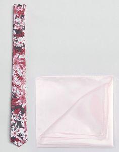 ASOS Pink Floral Tie & Pink Pocket Square - Gray