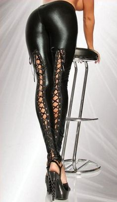 Burlesque, Pin-up & Rockabilly Goth Laced Up Stretch Leggings Pants Read Full Descrip - Pants & Jeans