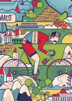 Neil Stevens illustration for a book on cycling in France.
