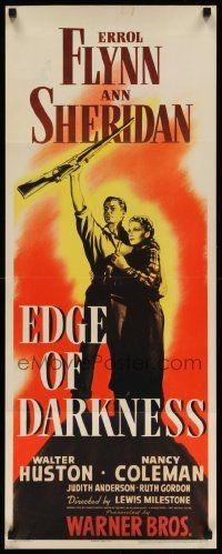 7k424 EDGE OF DARKNESS insert '42 great full-length art of Errol Flynn & Ann Sheridan!