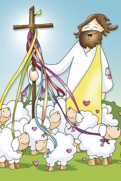 Bible Cartoon, Sheep Cartoon, Jesus Cartoon, Catholic Kids, Kids Church, Bible Crafts, Bible Art, Jesus Pictures, Pictures To Draw