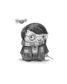 Lil Harry Potter the scorcerer, wizard, magic magician by www.willterry.com who teaches how to illustrate children's books at www.svslearn.com