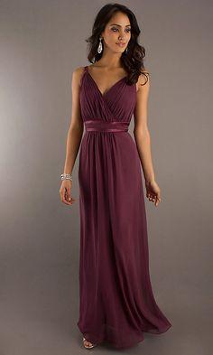 Long V-neck Bridesmaid Dress B Bari Jay. ~For fall or spring wedding#maroon
