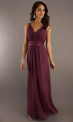 Long V-neck Bridesmaid Dress B Bari Jay