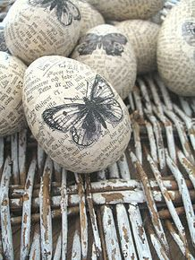 Stamped Book Page Easter Eggs