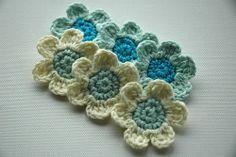 Crochet Flowers in Blue
