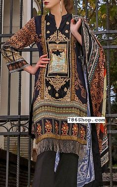 Brown/Black Cottel Suit | Buy Al-Zohaib Pakistani Dresses and Clothing online in USA, UK