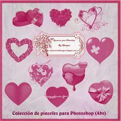 Recursos Photoshop Llanpac: Colección de pinceles de corazones para Photoshop ...