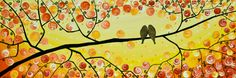 """I really like this painting...""""Pair of Autumn"""" by QIQIGALLERY 36x12  #painting #birds #canvas"""