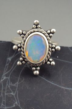 Ethiopian Faceted Opal Ring with Granulation