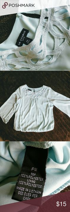 light blue blouse Beautiful light blue blouse with flowy arms and gathering at the bottom. Tops Blouses