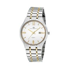 Men's Two-Tone Silver Dial Dress Watch. Silver pattern dial. Brushed bracelet with fold over buckle. Case Diameter - 40mm. Inner ring with stick markers in gold. Arabic 12,3,6 and 9 in gold. Gold hands. Water Resistant to 100 ft. Includes Time America 2-piece Gift Box with Pillow. 10 year Limited Warranty. 12 pc minimum per style. #propelpromo