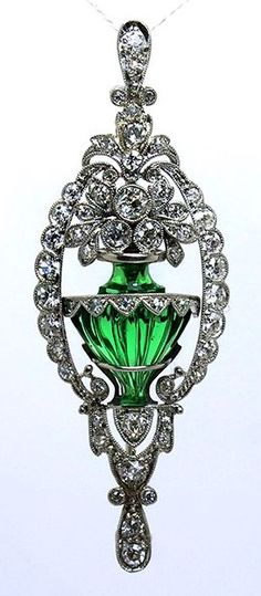 Breathtaking Art Deco 1.04tcw Diamond and Emerald Glass Brooch Pendant