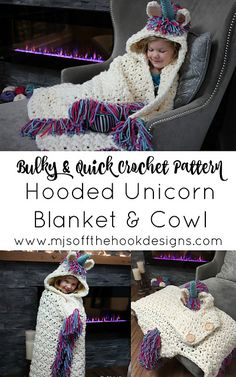 Ravelry: Bulky & Quick Unicorn Blanket /Cowl pattern by MJ's Off The Hook DesignsThis is a PDF crochet pattern for a Bulky & Quick Unicorn Blanket! Pattern also includes a Hooded Unicorn Cowl in toddler-adult size. Crochet Fox, Crochet Unicorn Blanket, Easy Crochet Blanket, Crochet For Beginners Blanket, Crochet Blankets, Quick Crochet Patterns, Crochet Blanket Patterns, Crochet For Kids, Crochet Designs