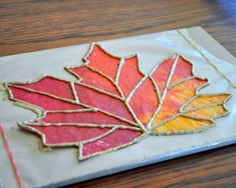 A fun craft almost anytime of year is making fake stained glass with crayons and wax paper. You just lay down a sheet of wax paper, add crayon shavings, and top it with another layer of wax paper. Cover with a paper towel, lightly iron, and cut your shape Thanksgiving Crafts, Fall Crafts, Art For Kids, Crafts For Kids, Crafts With Crayons, Fall Art Projects, Leaf Projects, 3rd Grade Art, Ecole Art
