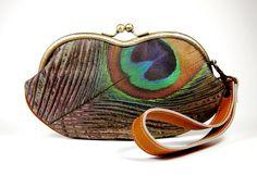 Eyeglasses case purse/ Peacock / medium purse / by ElevenRoosters, $37.00