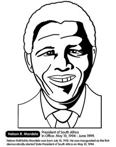 black history month nelson r mandela south africa coloring pages - Black History Month Coloring Pages