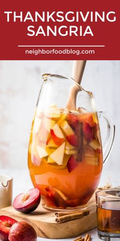 This Thanksgiving Sangria is a gorgeous spiked apple cider punch filled with apples, plums, and pears. This Thanksgiving Sangria is a gorgeous spiked apple cider punch filled with apples, plums, and pears. Spiked Apple Cider, Apple Cider Sangria, Homemade Apple Cider, Cranberry Juice, Thanksgiving Sangria, Fall Sangria, Thanksgiving 2020, Fall Cocktails, Holiday Drinks