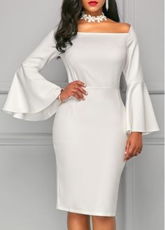 Back Slit Flare Sleeve White Sheath Dress.