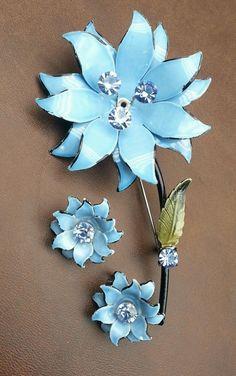 Vintage Coro Enamel & Blue Rhinestone Flower Pin & Earrings SET (very pretty) #Coro