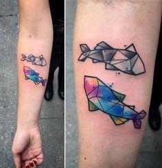 Geometric Pisces Tattoo