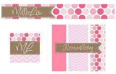 Premade Etsy Shop Set for Small Crafty Boutiques Polka Dots Chevron and Scallops Pink and Brown