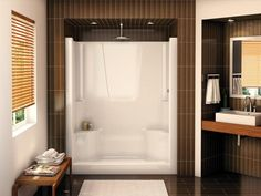 Bathroom, : Contemporary Built In Opened Shower Stall Design For Master Bathroom Design With Vintage Bathroom Decoration Ideas