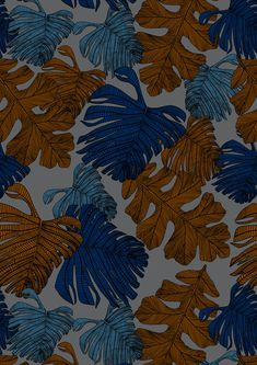 Monsteria Mix in Dusk. Digital print wallpaper and fabric by Emily Ziz