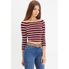Forever 21 Women's  Striped Crop Top ($8.90) ❤ liked on Polyvore featuring tops, striped top, 3/4 length sleeve tops, forever 21, forever 21 tops and off the shoulder crop top