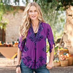 alexandra tunic  Neo-Edwardian splendor, just as alluring today, in royal purple silk chiffon, with flourishes of burnout velvet. Kimono sleeves, deep V-neck