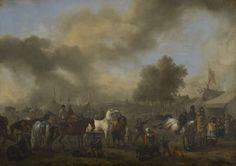 Philips Wouwerman - Paardenmarkt voor een tentenkamp