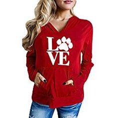 GBSELL Fashion Women Girl Valentine's Day Letter Hoodie Sweatshirt Sports Pullover Tops (Red, L)