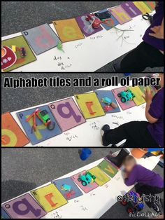 Alphabet tiles and a roll of paper Phonics Activities, Reading Activities, Literacy Activities, Literacy Strategies, Letter Activities, Eyfs Classroom, Outdoor Classroom, Eyfs Outdoor Area, Reception Class