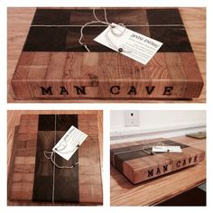 Custom Black Walnut and Cypress End Grain  Butcher Block Cutting Board with Wood Burned 'Mancave' by Devine Energy.. #custom #blackwalnut #cypress #endgrain #butcherblock #cuttingboard #woodburn #mancave