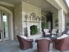Outdoor Fireplaces & Fire Pits: Aux Vases Tumbled Veneer with Aux Vases Buff Hearth & Ma  www.earthworksstone.net