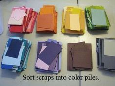 How to organize card stock scraps for card making