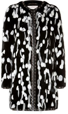 EMILIO PUCCI White Feather Embellished Fur Coat - Lyst