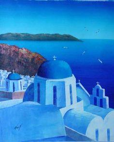 Santorini Greek Churches oil Painting