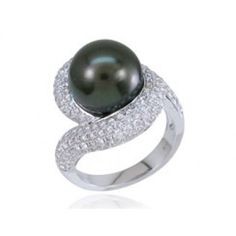 18KT White Gold Round Cut Diamond and Cultured Tahitian Pearl Ring (1.33ctw)     PR87153R01M18W-INJD