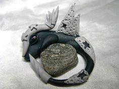 Space/Metal Dragon-Crystal Dragon-Polymer Clay Dragon-Quartz-OOAK by CrystalStarCreatures on Etsy