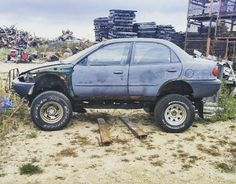 Lift all the things! This includes 1996 Geo Metro sedans.  Yes it's on a #samurai chassis. Yes it's for sale on Chicago's craigslist.  #chevrolet #geo #geometro #lifted #suzuki #lifteverything #liftallthethings #liftedcar #oddball #customcar #foundoncraigslist #sedan #4x4 by subcompactculture