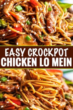"""crock pot recipes This Crockpot Chicken Lo Mein is the perfect weeknight meal! Packed with bold flavors, plenty of veggies, and with only 20 minutes of actual """"work"""", it's a much better alternative to Chinese takeout. Top Crockpot Recipes, Crockpot Dishes, Beef Recipes, Healthy Recipes, Crockpot Veggies, Healthy Lo Mein Recipe, Weeknight Recipes, Healthy Crockpot Chicken Recipes, Asian Crockpot Chicken"""